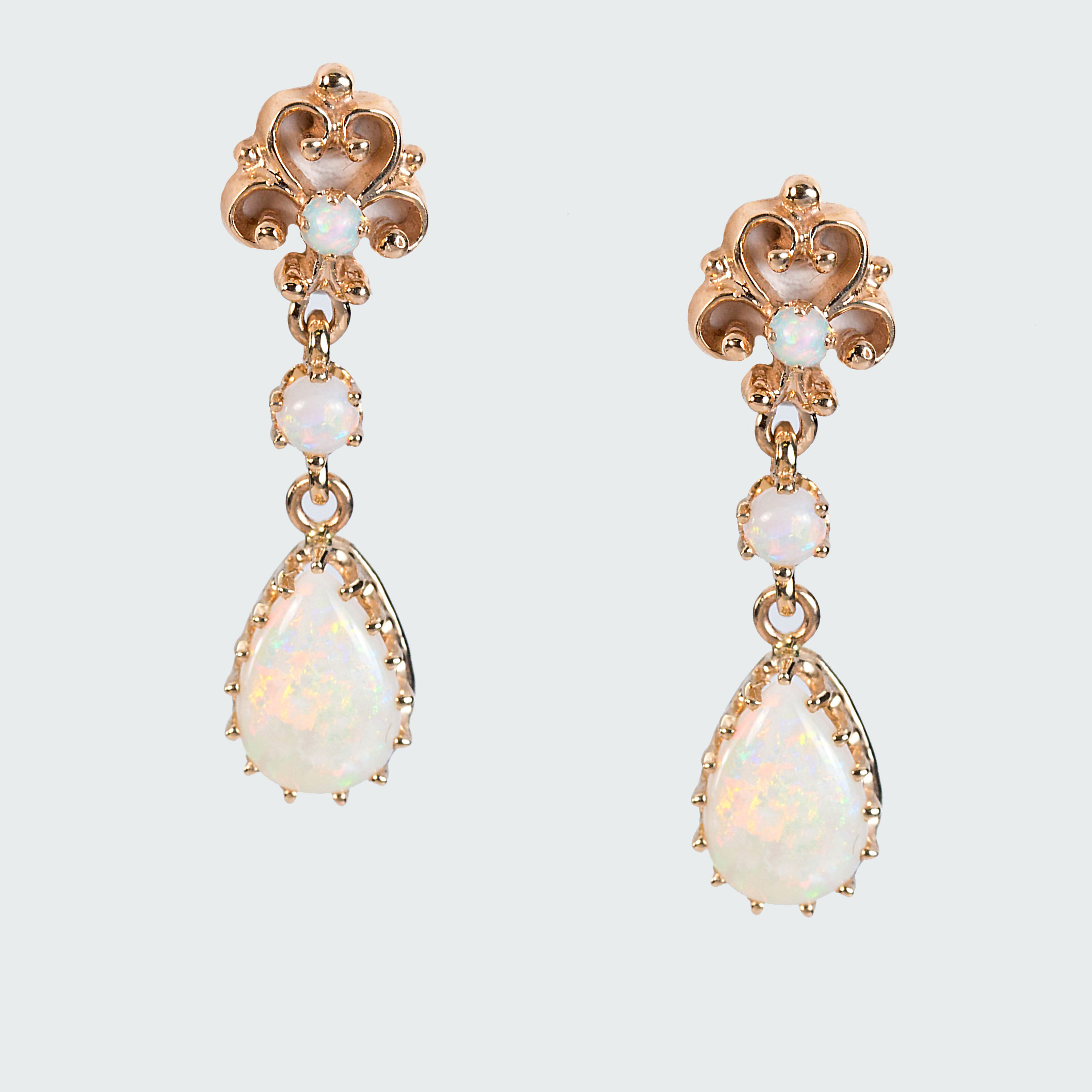 14k Gold Opal Earrings