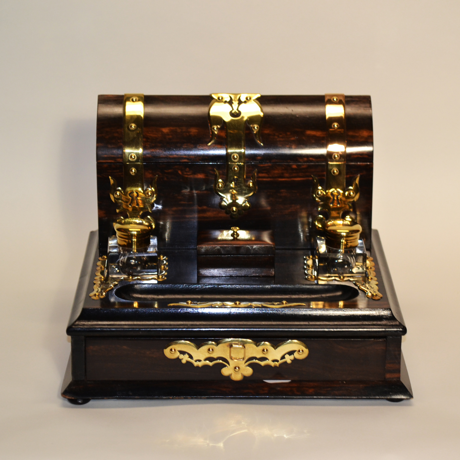 Antique English Coromander Brass Mounted Desk Set And Inkwell Circa 1880