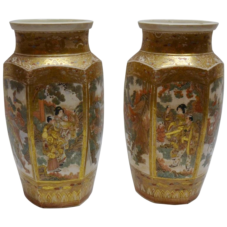 Pair Of Antique Satsuma Japanese Vases Circa 1880 1890 Keils