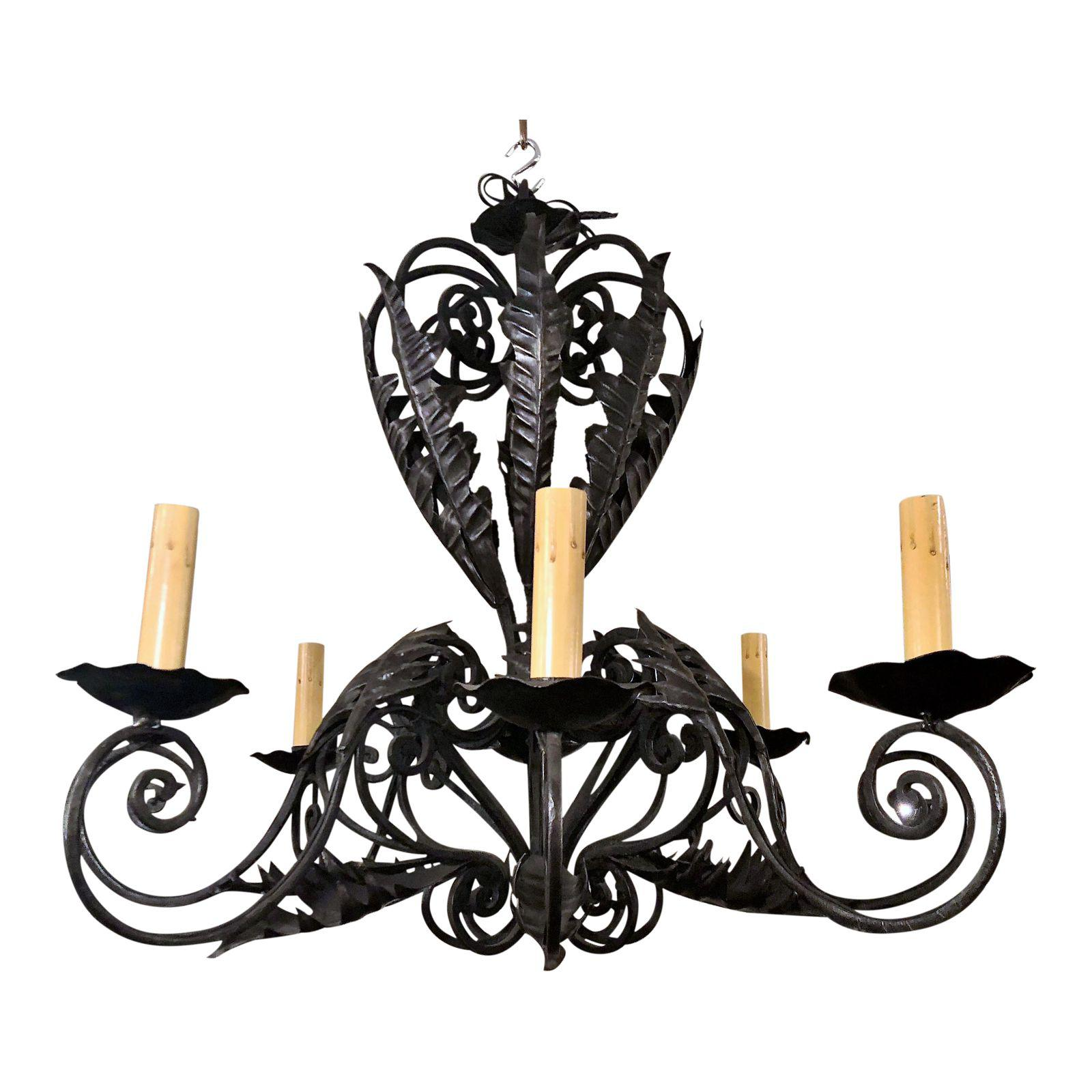Antique wrought iron chandelier circa 1910 1920 keils antiques antique wrought iron chandelier circa 1910 1920 aloadofball Images