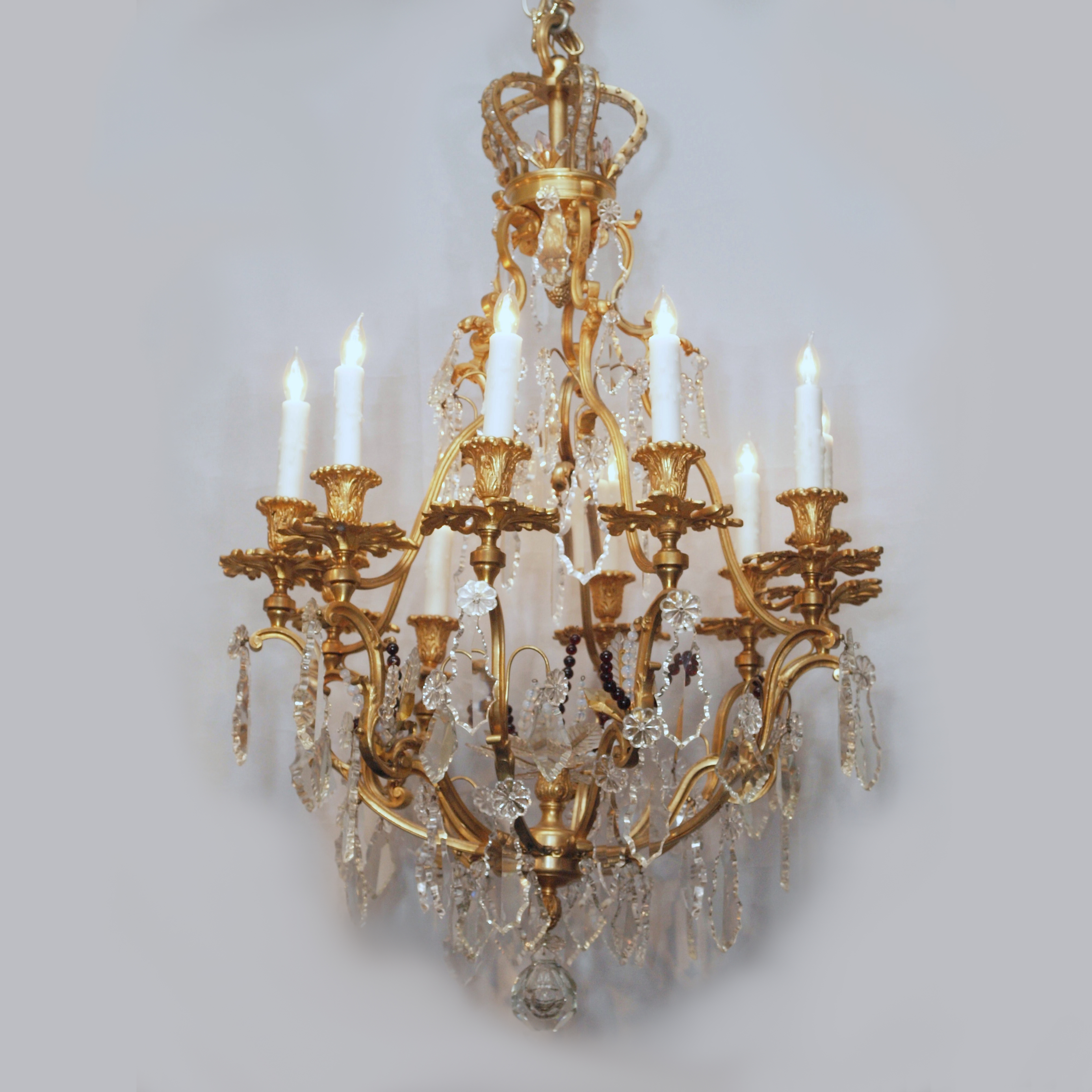 Antique French Gold Bronze and Crystal Chandelier with Crown circa