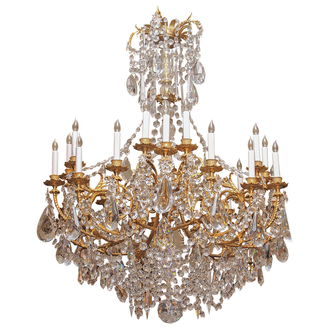 Antique French Baccarat and Bronze D'ore Louis 16th Crystal Chandelier  circa 1890s - Antique French Baccarat And Bronze D'ore Louis 16th Crystal