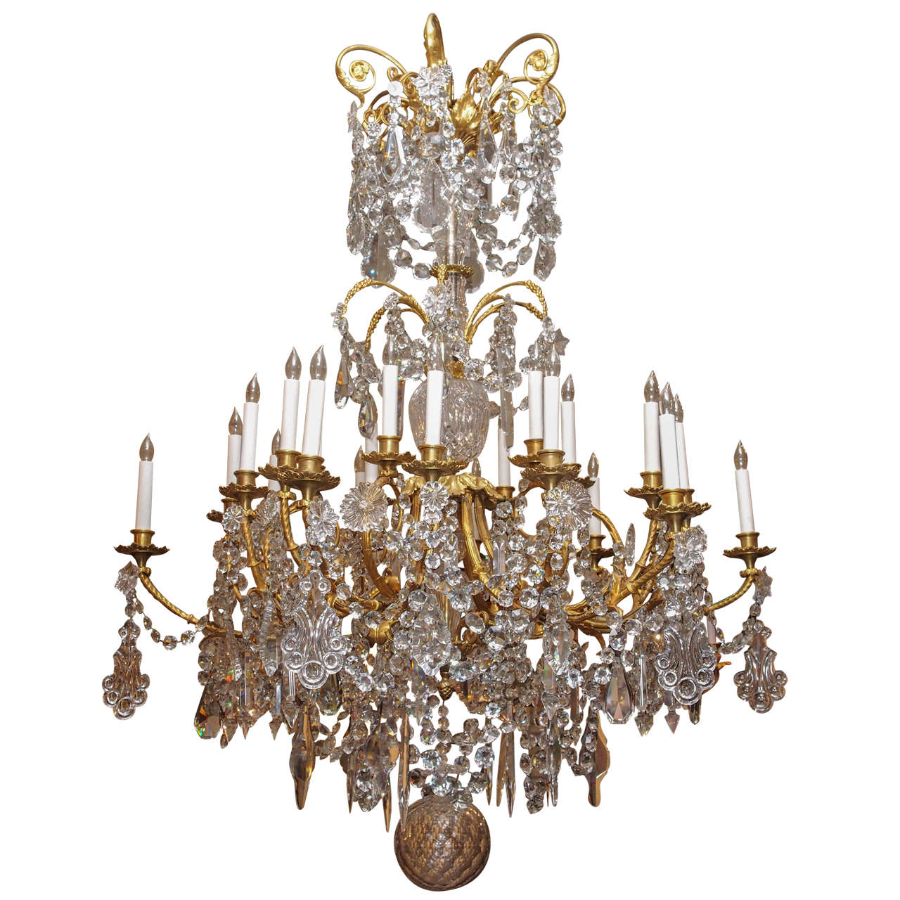 Antique French Baccarat Crystal and Ormolu Chandelier circa 1880s - Antique French Baccarat Crystal And Ormolu Chandelier Circa 1880s