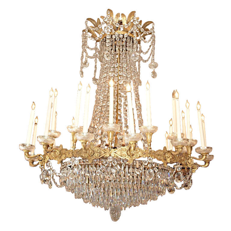Antique French Empire Ormolu And Baccarat Crystal Chandelier Circa