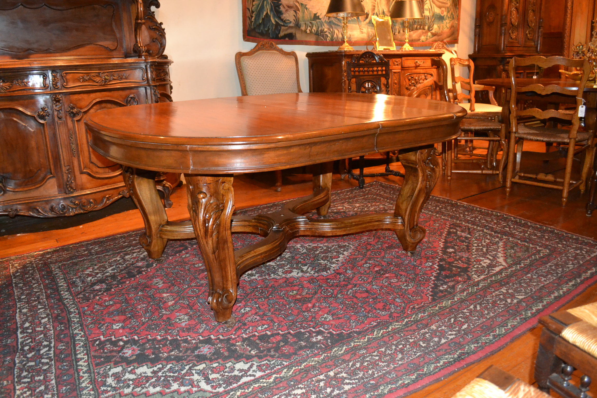 Antique French Solid Wood Dining Table