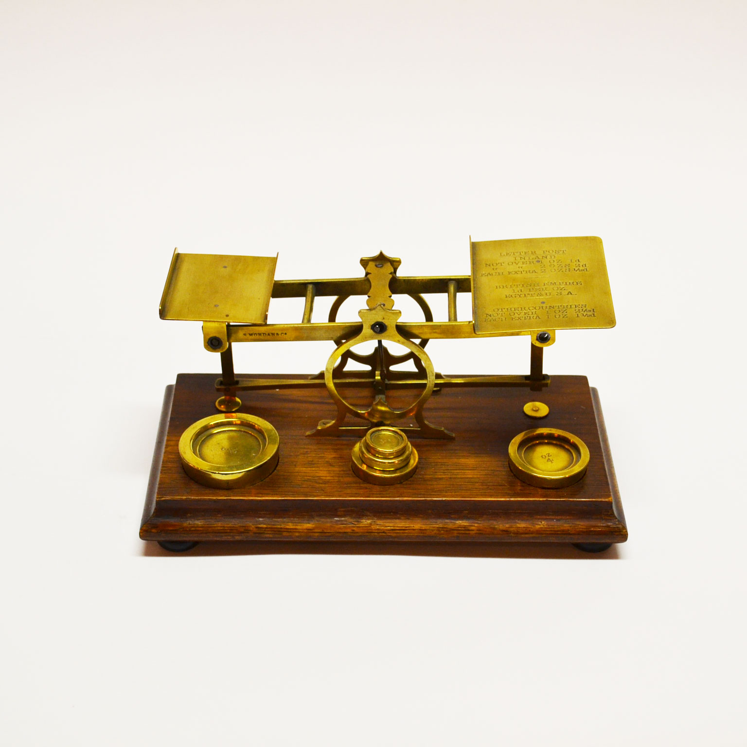 Antique English Postal Scale Oak and Brass