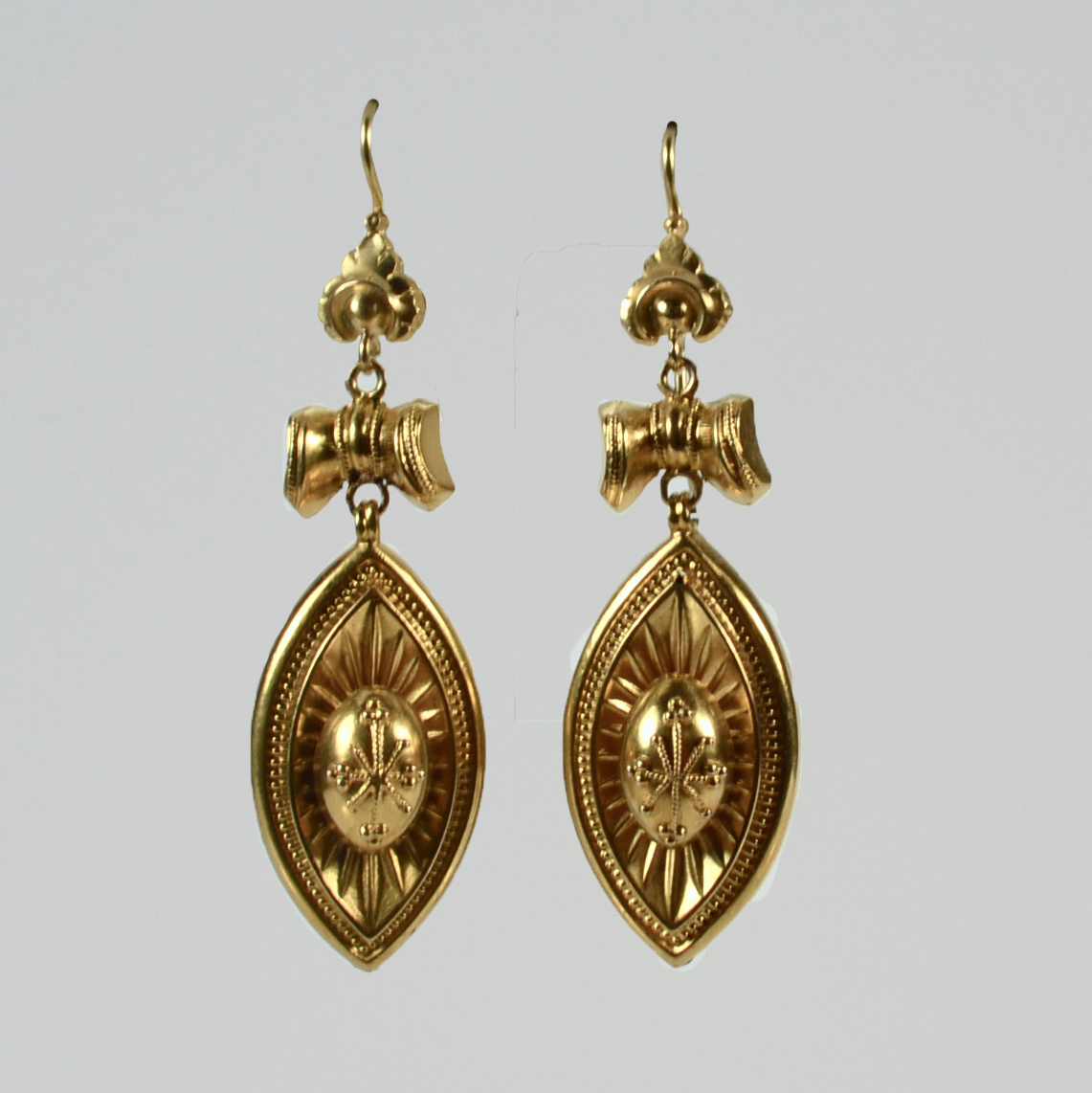 Antique 15 Carat Gold Etruscan Revival Earrings