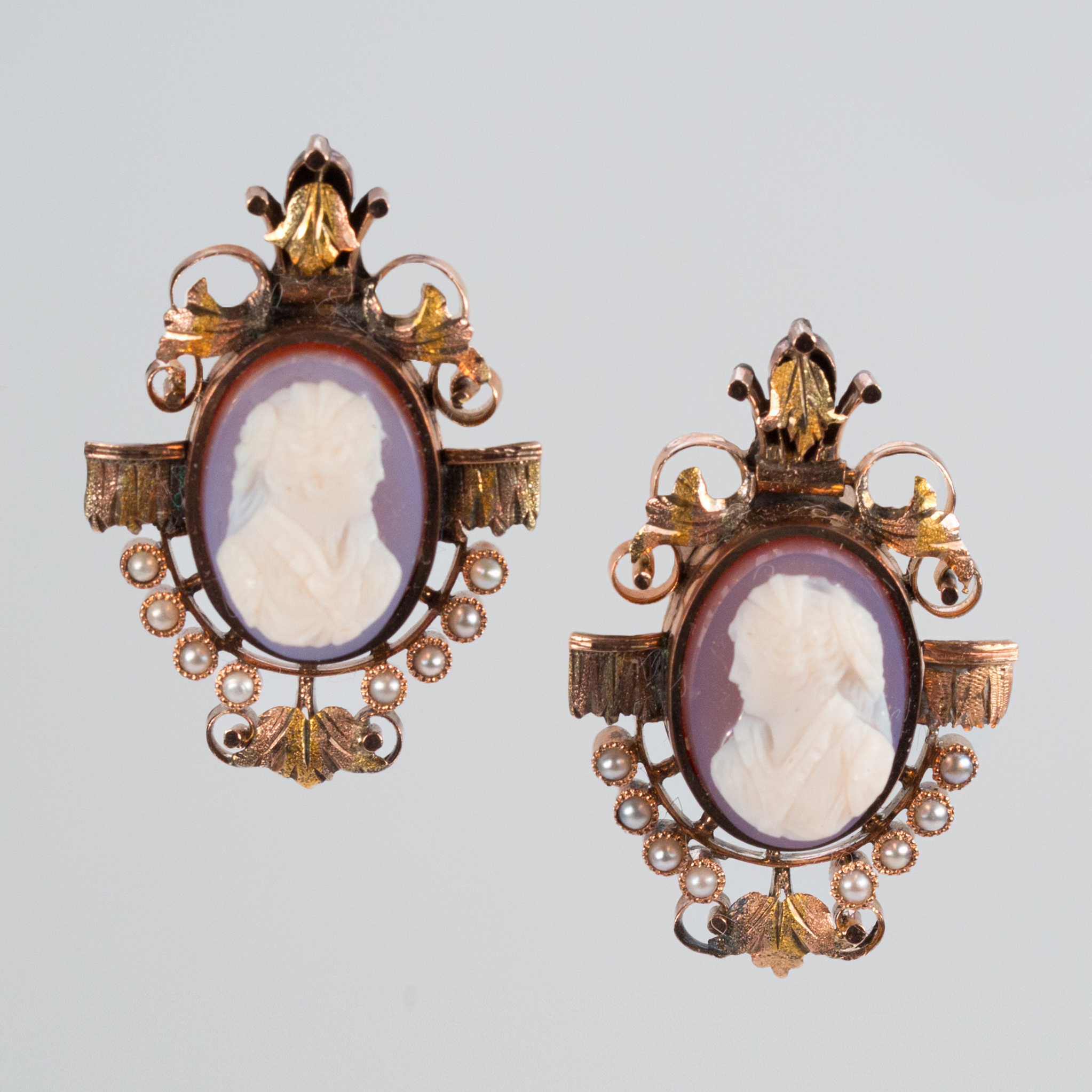 Antique 14k Multi Color Gold Cameo Earrings