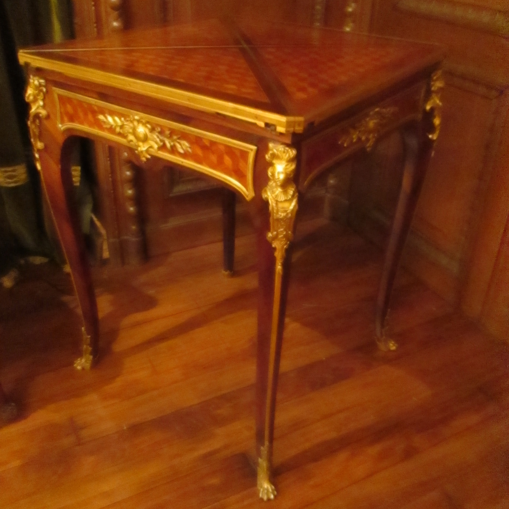 Antique French Folding Game Table Made By Master Ebeniste F.Linke