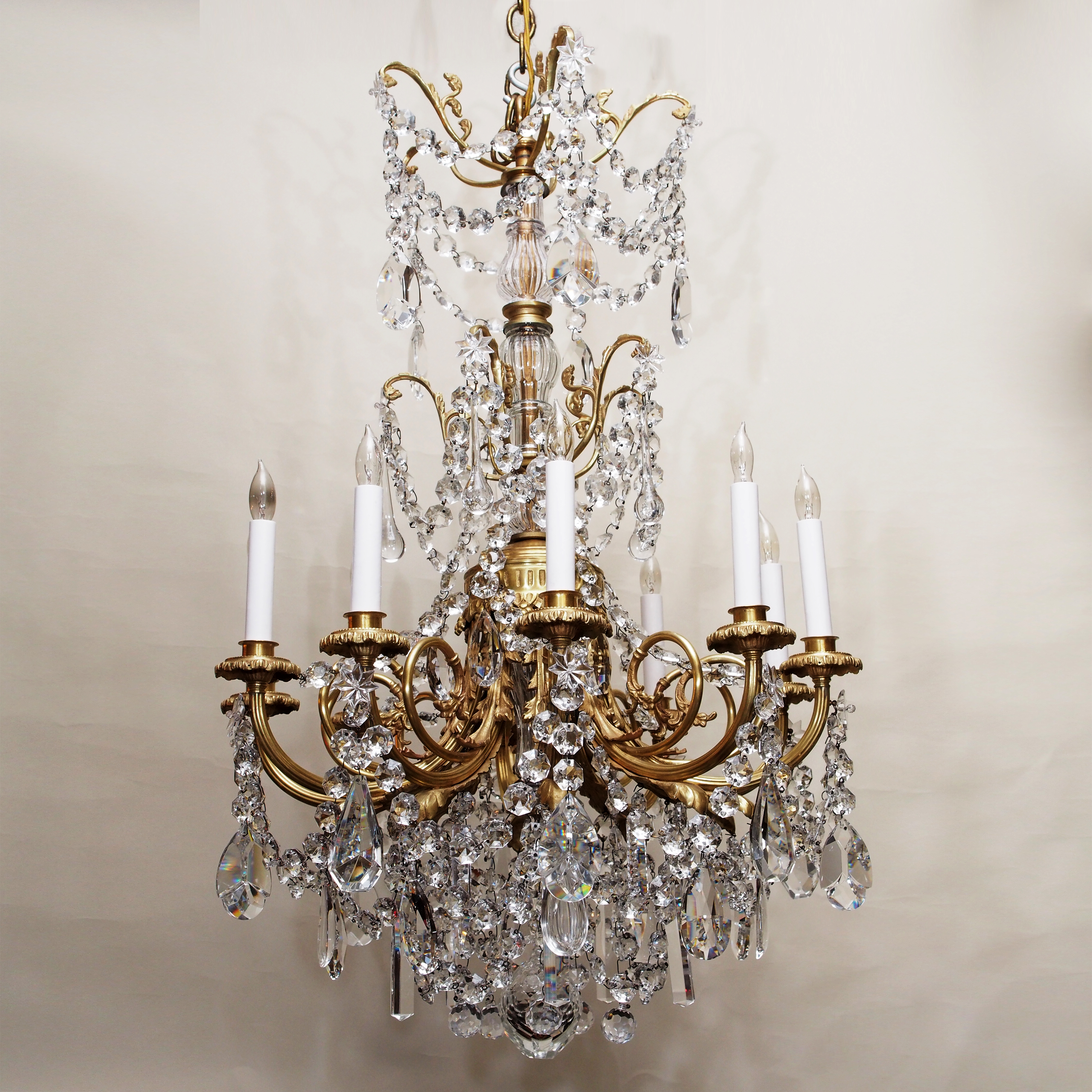 Antique french belle epoque crystal and gold bronze original antique french belle epoque crystal and gold bronze original chandelier circa 1880 arubaitofo Image collections