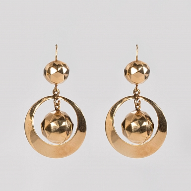 Pair Antique 14k Gold Hoop Earrings