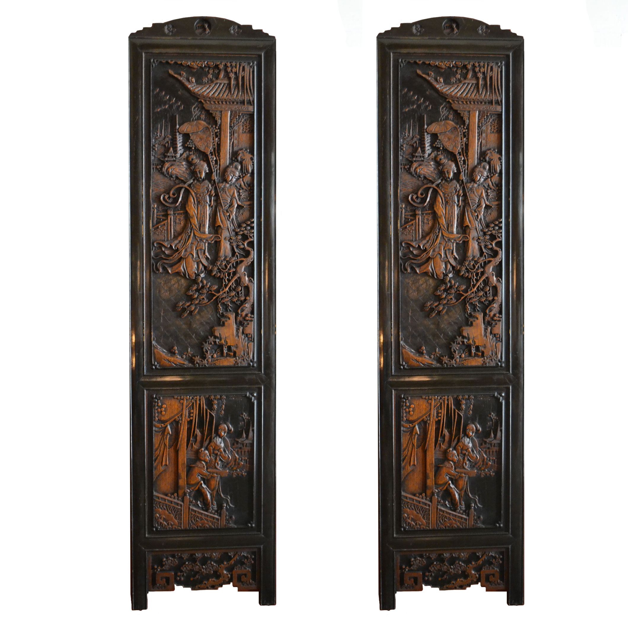 Pair Of Antique Anese Carved Wood Panels Circa 1880 1890