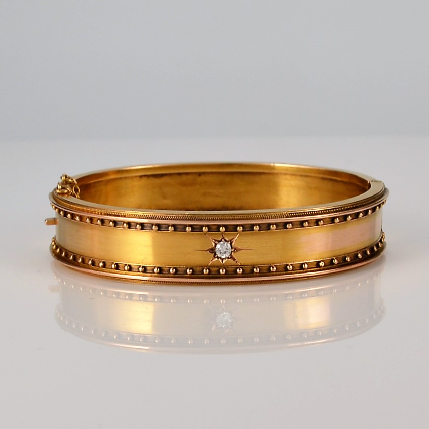 Antique English 15 Carat Gold And Diamond Etruscan Revival Bangle